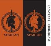 orange black color spartan...   Shutterstock .eps vector #598514774