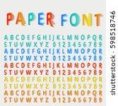 vector folded font. vector... | Shutterstock .eps vector #598518746