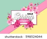 spring sale colorful banner... | Shutterstock .eps vector #598524044