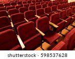 red velvet seats for spectators ... | Shutterstock . vector #598537628