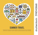 cruise set of summer travel in... | Shutterstock .eps vector #598543868