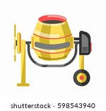 yellow concrete mixer in... | Shutterstock .eps vector #598543940