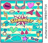 chic fashion summer patch... | Shutterstock .eps vector #598547714