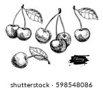 cherry vector drawing set.... | Shutterstock .eps vector #598548086