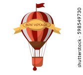 striped air balloon with sign... | Shutterstock .eps vector #598549730