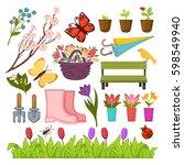 spring gardening flowers and... | Shutterstock .eps vector #598549940