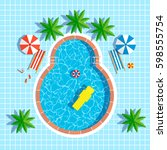 swimming pool top view with... | Shutterstock .eps vector #598555754
