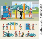 auto mechanics composition with ... | Shutterstock .eps vector #598558406