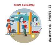 car maintenance service concept ... | Shutterstock .eps vector #598558433