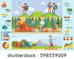 backpacking and hiking brochure ... | Shutterstock .eps vector #598559009