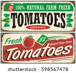 tomatoes vintage promotional... | Shutterstock .eps vector #598567478