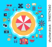set of flat icons for summer... | Shutterstock .eps vector #598574360