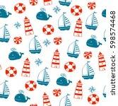 cartoon seamless nautical... | Shutterstock .eps vector #598574468