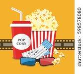 popcorn and drink. film strip... | Shutterstock .eps vector #598578080