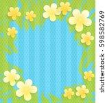 vintage floral frame on a blue... | Shutterstock .eps vector #598582769