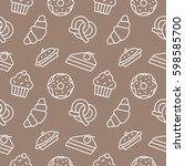 bakery food background seamless ... | Shutterstock .eps vector #598585700