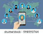 global communication between... | Shutterstock . vector #598593764