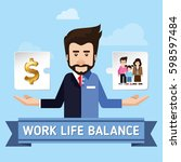 concept of work and life... | Shutterstock .eps vector #598597484