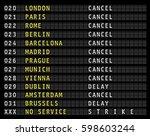 flight information on airport...   Shutterstock .eps vector #598603244