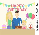 isolated birthday family in the ...   Shutterstock . vector #598603574