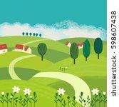green landscape. freehand drawn ... | Shutterstock .eps vector #598607438
