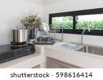 modern kitchen room design with ... | Shutterstock . vector #598616414