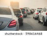 traffic jam with row of cars on ... | Shutterstock . vector #598616468