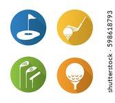 golf flat design long shadow... | Shutterstock .eps vector #598618793