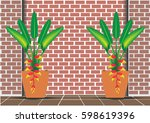 red heliconia flower and home... | Shutterstock .eps vector #598619396