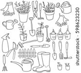 vector gardening doodle set ... | Shutterstock .eps vector #598623230