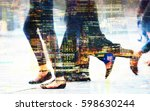 feet of pedestrians walking on... | Shutterstock . vector #598630244