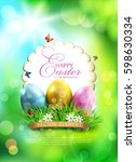 vector easter background  with... | Shutterstock .eps vector #598630334