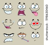 cartoon funny face with... | Shutterstock .eps vector #598630460