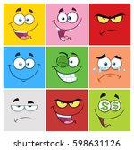 square cartoon emoticons... | Shutterstock .eps vector #598631126