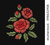 roses and leaves. embroidery.... | Shutterstock .eps vector #598632908