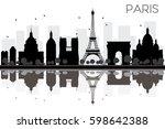 paris city skyline black and... | Shutterstock .eps vector #598642388