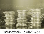 rows of coins with city... | Shutterstock . vector #598642670