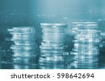 rows of coins with city... | Shutterstock . vector #598642694