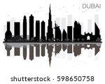 dubai city skyline black and... | Shutterstock .eps vector #598650758