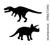 silhouette tyrannosaurus and... | Shutterstock .eps vector #598671440