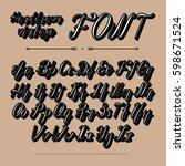 handwritten lettering font... | Shutterstock .eps vector #598671524