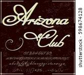 handwritten handcrafted font... | Shutterstock .eps vector #598674128