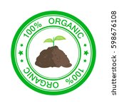 eco icon stamp with text 100 ... | Shutterstock .eps vector #598676108
