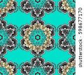 seamless damask pattern... | Shutterstock .eps vector #598677170