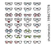 glasses  grin  vector icon ... | Shutterstock .eps vector #598677578