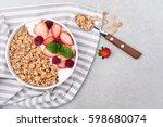 healthy breakfast with granola  ... | Shutterstock . vector #598680074