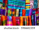 many multicolored textiles... | Shutterstock . vector #598681559