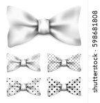 white bow tie with black dots... | Shutterstock .eps vector #598681808