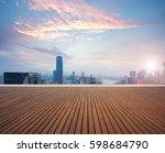 empty wood floor textured with... | Shutterstock . vector #598684790