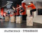 muscular group doing jumping... | Shutterstock . vector #598688600